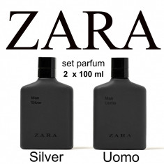 Parfum barbati ZARA Man Uomo Silver SET 2 x 100 ML 100% Original NOU nu avon ori, Apa de toaleta, 200 ml