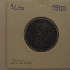 1 LEU 1900 VF-XF PATINA!!! - Moneda Romania, Argint