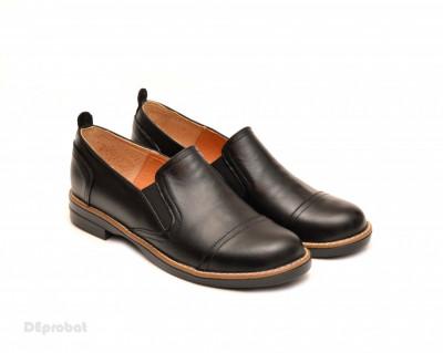 Pantofi dama negri casual-eleganti din piele naturala cu elastic cod P104 foto