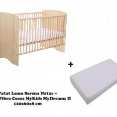 Patut copii Serena cu saltea MyDreams II 120x60x8 Natur MyKids - Patut lemn pentru bebelusi