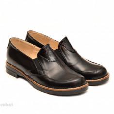 Pantofi dama negri casual-eleganti din piele naturala cu elastic cod P103