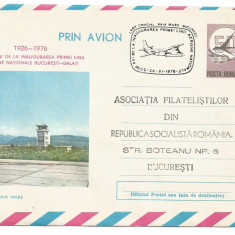 (No2) plic aerofilie- zbor omagial -BAIA MARE- BUCURESTI 1976