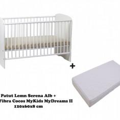 Patut copii Serena cu saltea MyDreams II 120x60x8 Alb MyKids - Patut lemn pentru bebelusi