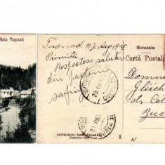 Romania 1925 Tusnad-bai (Harghita), gara linia Deda-Brasov - Carte Postala Transilvania dupa 1918, Circulata, Fotografie