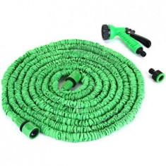 Furtun Magic extensibil cu Pistol de udat, maxim 30 metri, verde, premium