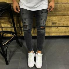 Blugi barbati model 2017 slim fit, 30 - 33, Negru, Lungi