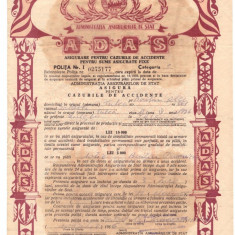 Asigurare pentru accidente ADAS, 1966, Romania de la 1950