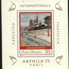 Romania 1975 - PICTURA TH.PALADY, colita nestampilata AA102 - Timbre Romania