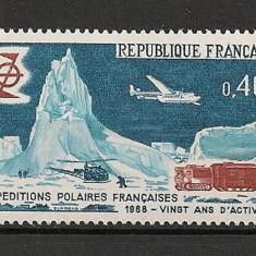Franta 1968 - AVION, ELICOPTER, EXPEDITIE POLARA, timbru nestampilat, A2