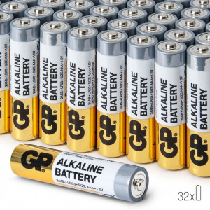 Baterii AAA Alcaline GP, R3, High-Performance, 32 buc