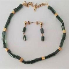 Colier si cercei cu turmaline si aur de 24k - Set bijuterii aur