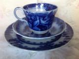 Set din ceramica glazurata, decor flow blue, Anglia 1850