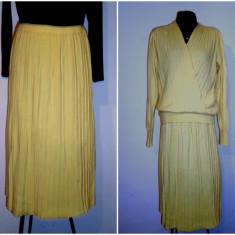COSTUM LANA SI MOHAIR NATURAL - Rochie tricotate, Culoare: Galben, Marime: 44