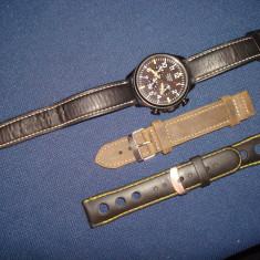 PULSAR - Ceas militar de aviator/pilot/barbatesc/cronograph/otel brunat/fosfor - Ceas barbatesc Pulsar, Casual, Quartz, Piele, Cronograf