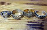 4 inele vechi argint aur inel