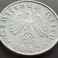 Moneda istorica 10 REICHPFENNIG - GERMANIA NAZISTA, anul 1943 A *cod 2211- ZINC, Europa