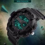 Ceas Military SKMEI 2 fusuri orare, cronograf, data, waterproof 50M inot, Lux - sport, Quartz, Inox