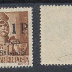 ROMANIA Ardealul de Nord 1945 Posta Salajului eroare rara Sajajului 1P pe 4f MNH - Timbre Romania, Nestampilat