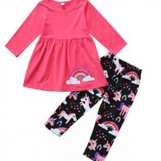 Costum roz curcubeu, Marime: 2-3 ani, 3-4 ani, 4-5 ani
