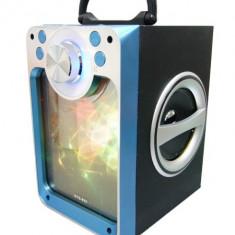 Boxa portabila cu bluetooth, SD Card, USB, intrare microfon, jocuri lumini disco, albastru