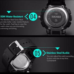 Ceas Military SKMEI 2 fusuri orare, cronograf, data, waterproof 50M inot