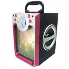 Boxa portabila cu bluetooth, SD Card, USB, intrare microfon, jocuri lumini disco, visiniu