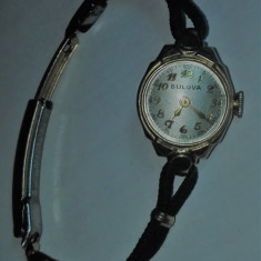 Ceas Bulova vintage - Ceas dama Bulova, Lux - elegant, Mecanic-Manual, Aur, Material textil, Analog