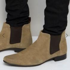 Chelsea Boots - piele întoarsă - mărimea 44 - Pantofi barbat Asos, Culoare: Maro