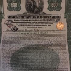 $500 Aur obligatiune la purtator Romania 1929 cu cupoane neincasate