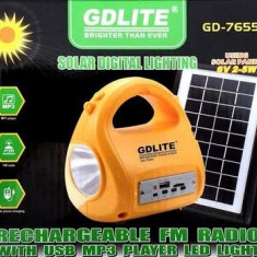 Kit Solar Lanterna/Lampa cu Radio MP3 incarcator USB Gdlite GD-7655B - Panou solar