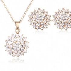 Set cu cristale placat aur alb 18k