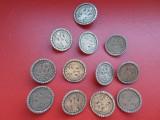 Lot 12 nasturi metalici antichizati, tip moneda acvila bicefala