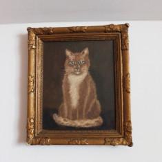 Pictură în ulei pe pânză – pisică., Animale, Realism