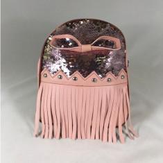 Rucsac roz cu paiete si franjuri+CADOU