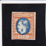 1869 LP 28 CAROL I CU FAVORITI  25 BANI PORTOCALIU SI ALBASTRU POINCON L.PASCANU, Nestampilat