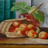"""""""Natura statica cu mere si struguri"""", Ulei, Realism"""