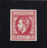 ROMANIA 1872  LP 32 CAROL I CU BARBA  15 BANI ROSU  POINCON L. PASCANU, Nestampilat
