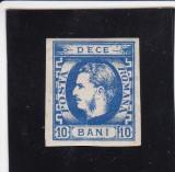ROMANIA 1869 LP 26 a  CAROL I CU FAVORITI 10 BANI ALBASTRU POINCON L. PASCANU, Nestampilat