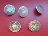 Lot 5 nasturi metalici, argintii, antichizati, tip moneda, acvila bicefala