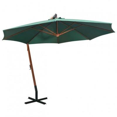 Umbrelă de soare suspendată 350 cm, stâlp din lemn, verde foto