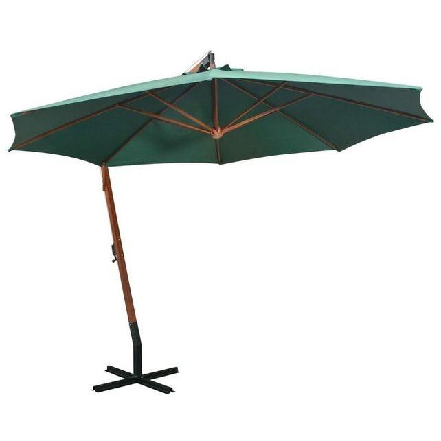 Umbrelă de soare suspendată 350 cm, stâlp din lemn, verde foto mare