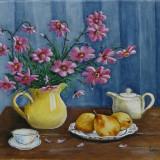 Natura statica cu flori mov si pere, Ulei, Realism