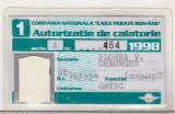Bnk  div SNCFR - Autorizatie de calatorie - Supracontrol - 1998