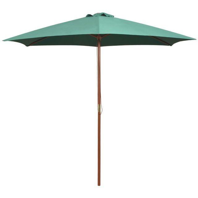 Umbrela de soare cu stalp de lemn 270 x 270 cm, verde foto mare