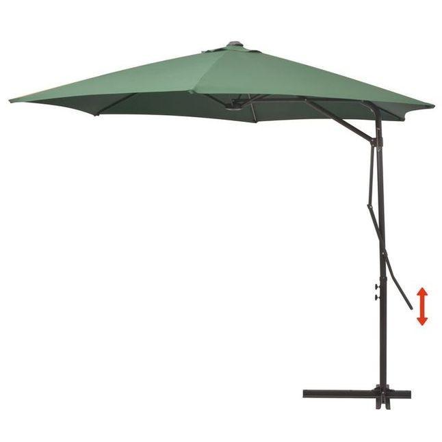 Umbrelă de soare suspendată, stâlp oțel, 300 cm, verde foto mare
