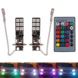 Bec led H3 RGB cu Telecomanda, Universal