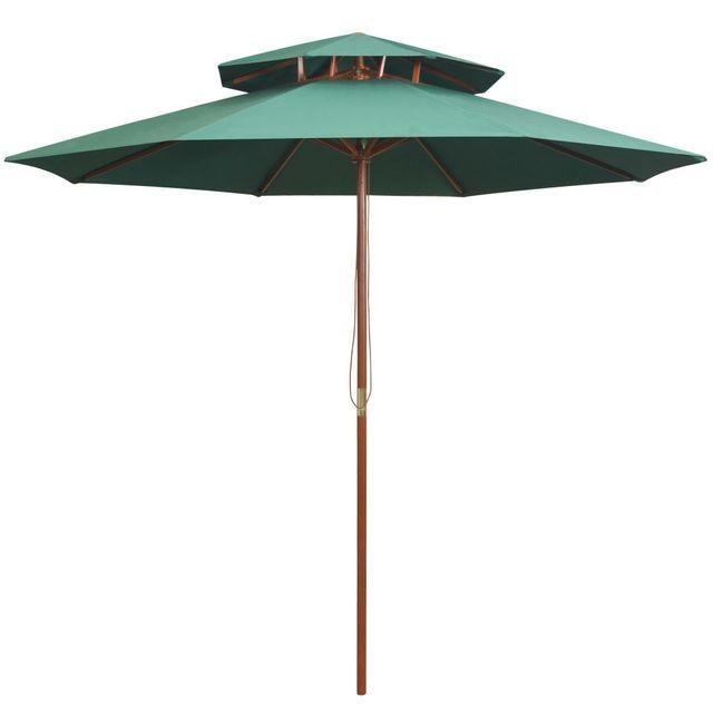 Umbrela de soare dubla, 270x270 cm, stalp de lemn, verde foto mare
