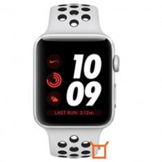Apple Watch Series 3 Sport Nike Plus 38mm Aluminium Silver Plastic Sport Band Platinum Negru, Aluminiu, Argintiu