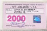 Bnk  div SNCFR - CFR Calatori SA  - Autorizatie de calatorie -2000