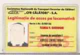 Bnk  div CFR Calatori SA  - legitimatie acces pe locomotiva 2005
